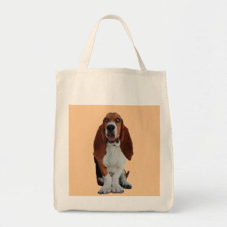 Basset Hound dog beautiful photo grocery tote bag