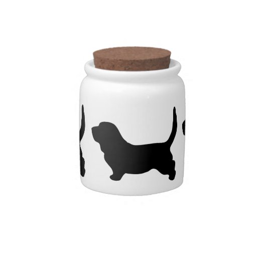 Basset Hound dog black silhouette candy jar, gift