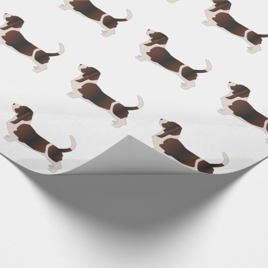 Basset Hound Dog Breed Silhouette Illustration Wrapping Paper