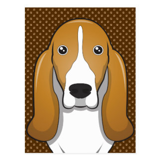 Basset Hound Dog Cartoon Paws Postcard