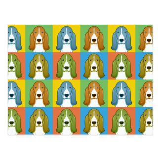 Basset Hound Dog Cartoon Pop-Art Postcard