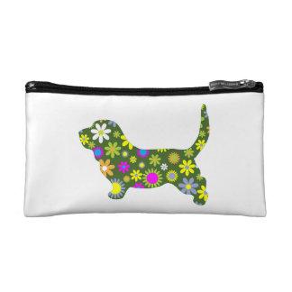 Basset Hound dog funky floral retro flowers fun Makeup Bag