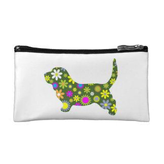 Basset Hound dog funky floral retro flowers fun Makeup Bags