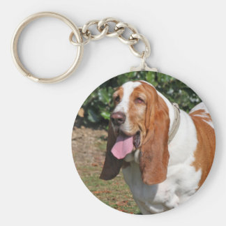 Basset hound dog keychain, present idea basic round button key ring