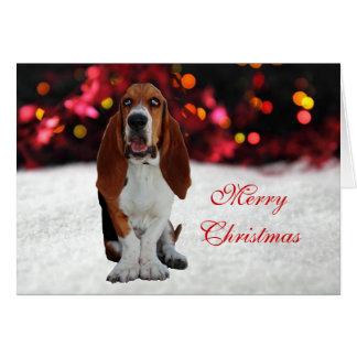 Basset Hound dog photo custom Christmas Card