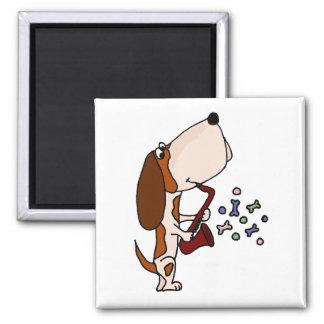 Basset Hound Dog Playing Saxophone Magnet