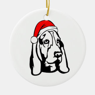 Basset Hound Dog with Christmas Santa Hat Round Ceramic Decoration