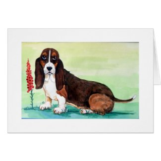 Basset Hound Dog with Foxglove Flowers