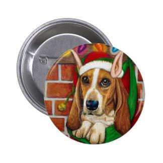 Basset Hound dog with Santa Elf Ear in Stocking 6 Cm Round Badge