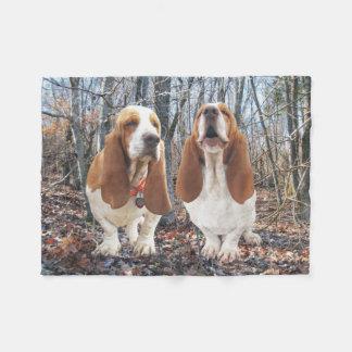 Basset Hound Dogs in Woods Fleece Blanket