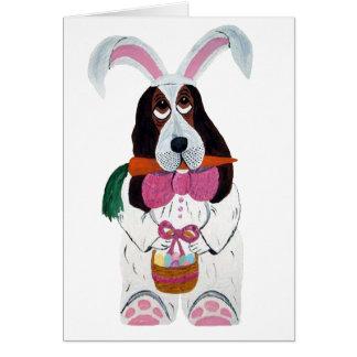 Basset Hound Easter Bunny Card