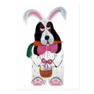 Basset Hound Easter Bunny Postcard