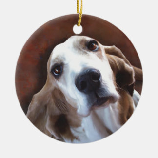 Basset Hound Fine Art Painting Portrait Round Ceramic Decoration