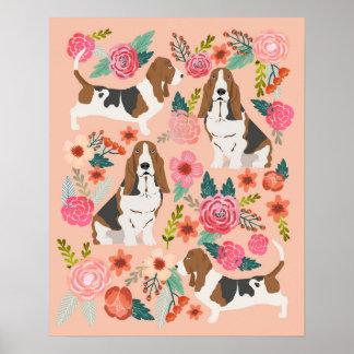 Basset Hound Florals - Dog Art Poster