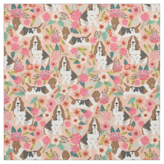 Basset hound florals fabric - cute dog fabric