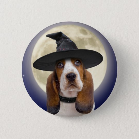 Basset Hound Halloween Button