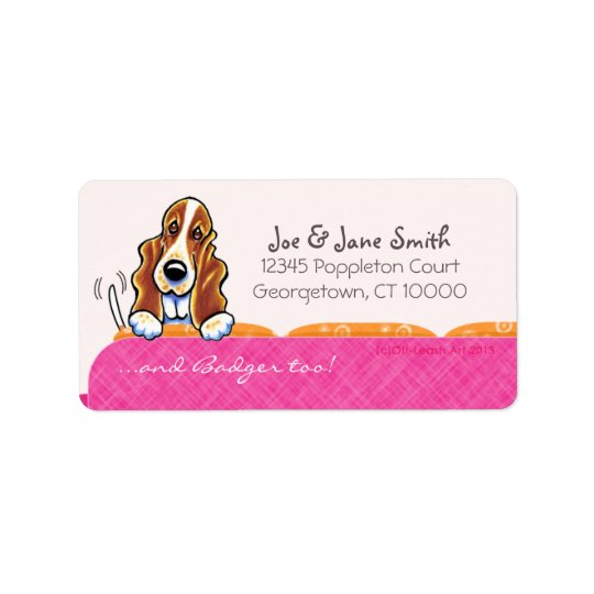 Basset Hound Happy Couch Dog Girly Pink Address