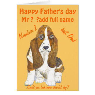 Basset Hound Happy Father s Day add name front Cards
