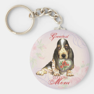 Basset Hound Heart Mom Basic Round Button Key Ring