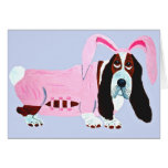 Basset Hound In Pink Bunny Suit
