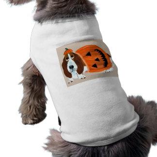 Basset Hound In Pumpkin Suit Sleeveless Dog Shirt