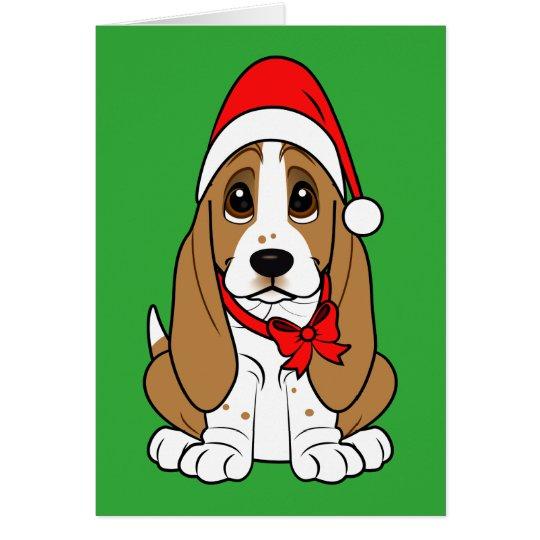 Basset Hound in Santa Hat at Christmas Card