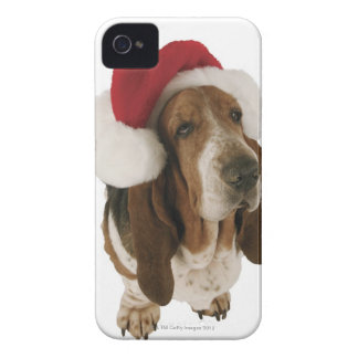 Basset hound in Santa hat iPhone 4 Cover