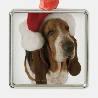 Basset hound in Santa hat Silver-Colored Square Decoration