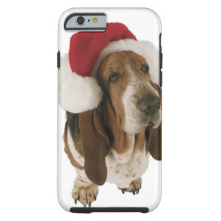 Basset hound in Santa hat Tough iPhone 6 Case