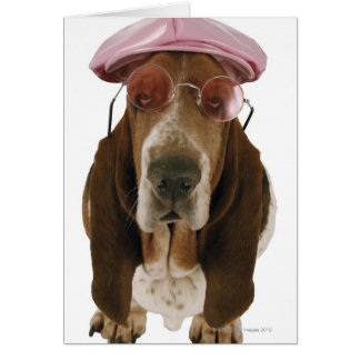 Basset hound in sunglasses and cap card