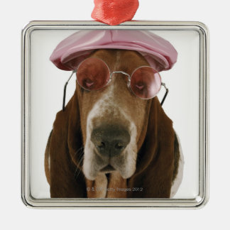Basset hound in sunglasses and cap christmas ornament