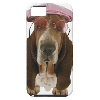 Basset hound in sunglasses and cap iPhone 5 covers