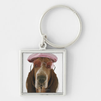 Basset hound in sunglasses and cap key ring