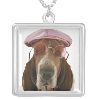 Basset hound in sunglasses and cap silver plated necklace