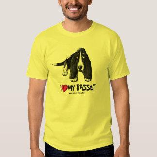 Basset hound ink pen drawing art tshirt