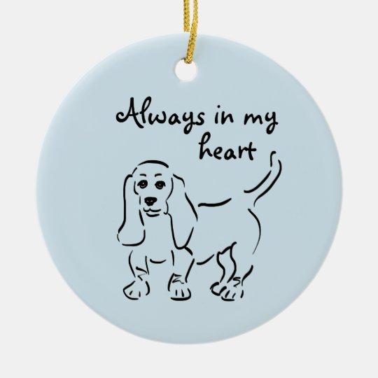 Basset Hound Keepsake - Customised Pet Loss Round Ceramic Decoration