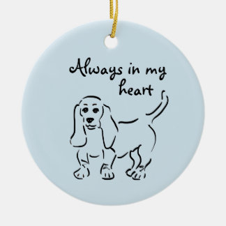 Basset Hound Keepsake - Customized Pet Loss Round Ceramic Decoration