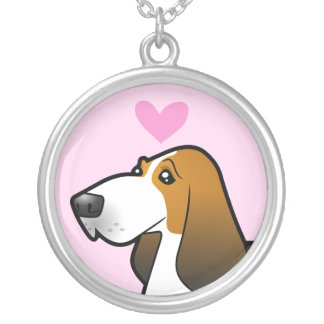 Basset Hound Love Silver Plated Necklace