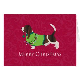 Basset Hound Merry Christmas Design Greeting Card
