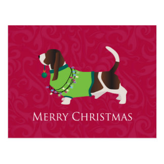Basset Hound Merry Christmas Design Postcard