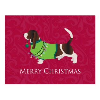 Basset Hound Merry Christmas Design Postcard