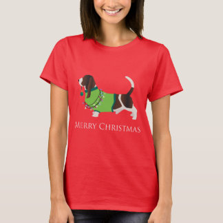 Basset Hound Merry Christmas Design T-Shirt