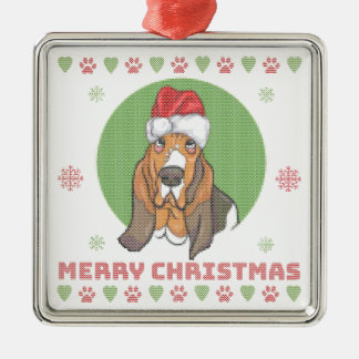 Basset Hound Merry Christmas Knit Pattern Christmas Ornament