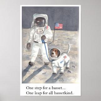Basset Hound Moon Walk Poster