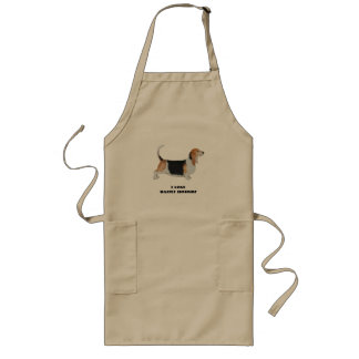 Basset Hound on Tan Leaves Long Apron