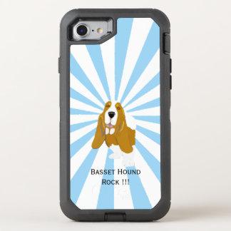 Basset Hound on white starburst OtterBox Defender iPhone 8/7 Case