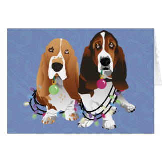 Basset Hound Peace Love Joy Christmas Design Card