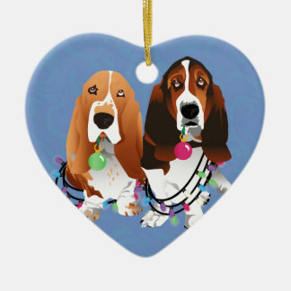 Basset Hound Peace Love Joy Christmas Design Christmas Ornament