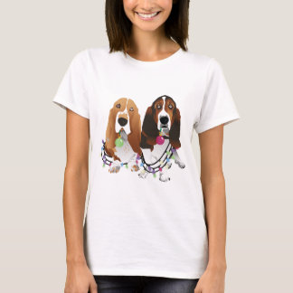 Basset Hound Peace Love Joy Christmas Design T-Shirt