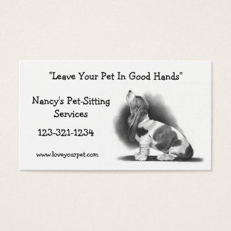 BASSET HOUND: PET SITTING BUSINESS CARD: PENCIL BUSINESS CARD